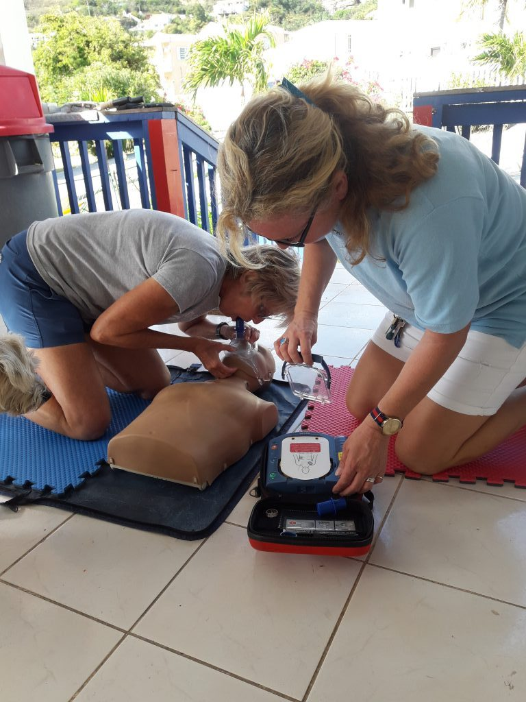 20. Team 1; getting the AED ready.